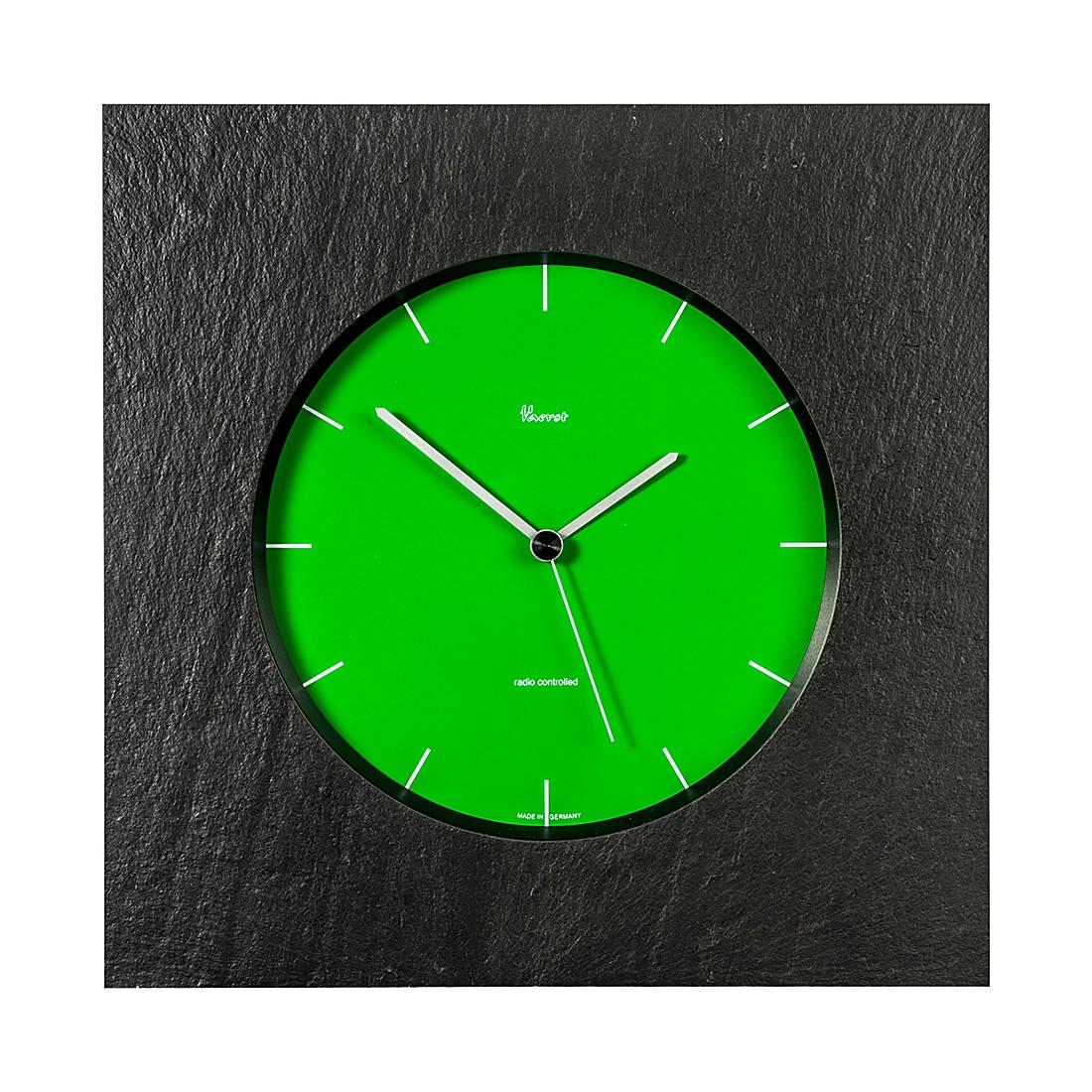 Funk-Wanduhr aus Naturschiefer, Zifferblatt Grün, Trenduhr – arabische Zahlen Weiß, Vaerst günstig