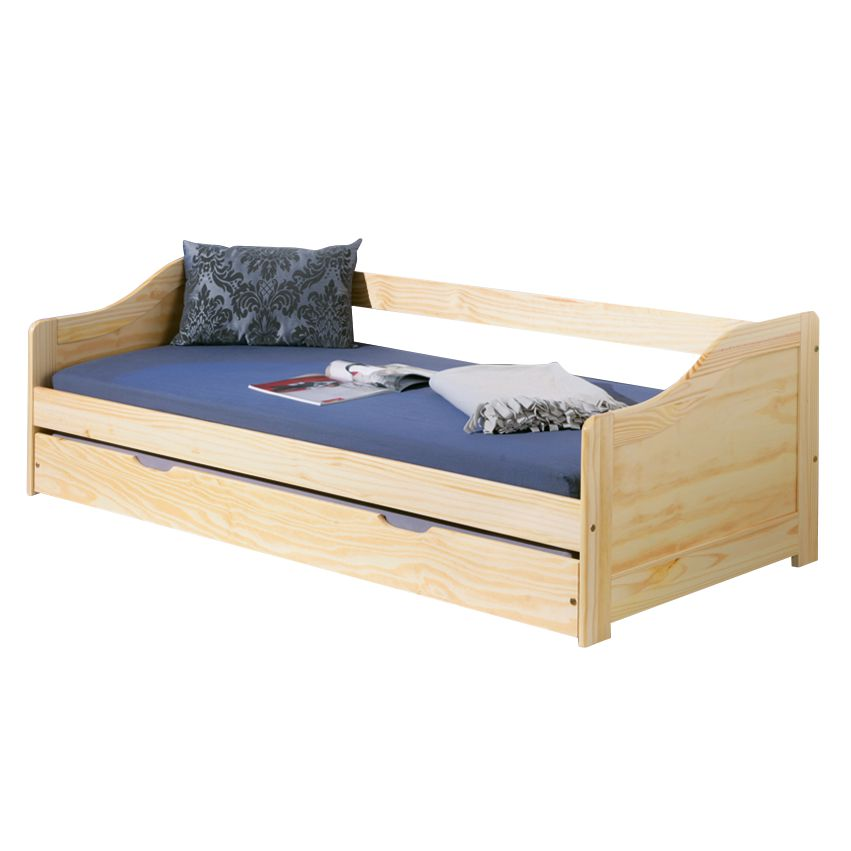 Funktionsbett Laura - Kiefer massiv - Natur - 90 x 200cm, Interlink