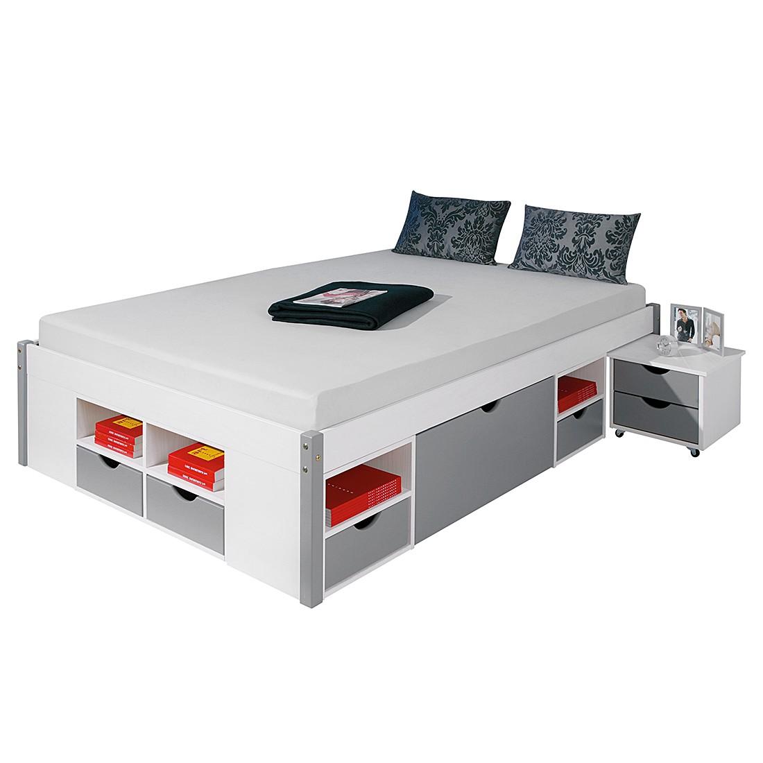 Funktionsbett Maren (inklusive Nachtkommoden) - Kiefer massiv - Weiß lackiert - 140 x 200cm, Lars Larson