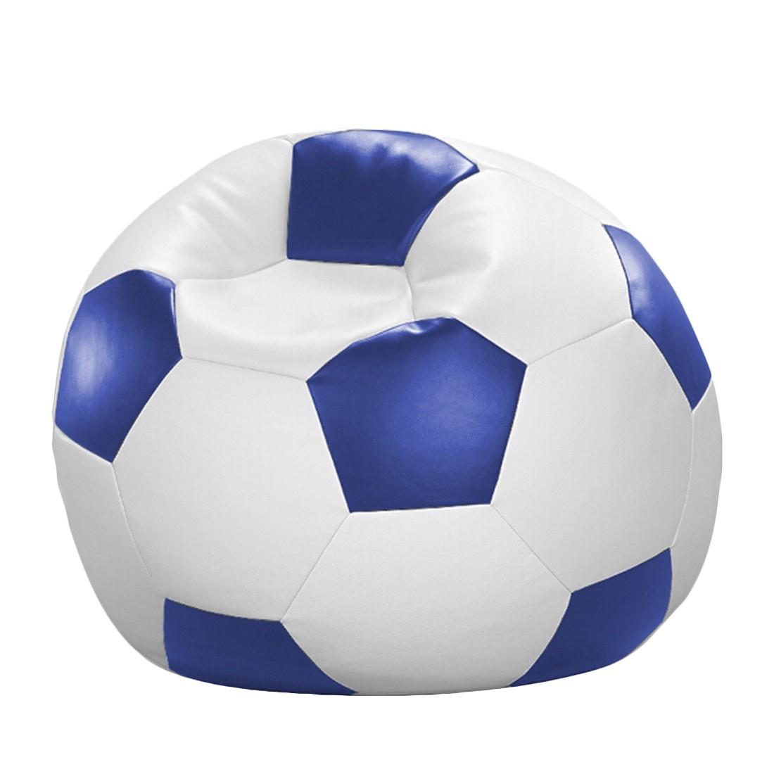Fussball-Sitzsack – Weiß/Blau – 80 x 80 cm, KC-Handel günstig online kaufen