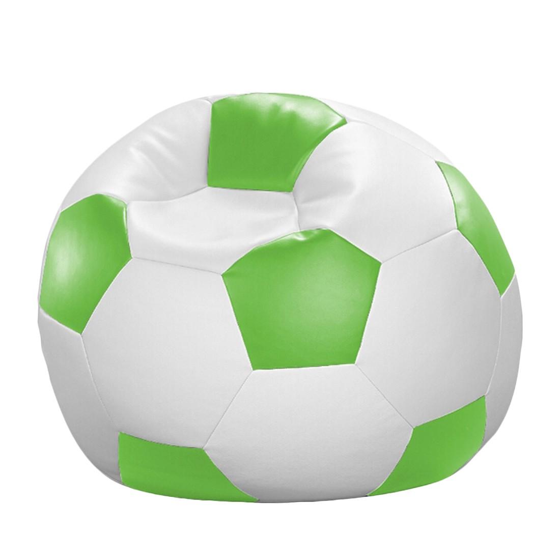 Fussball-Sitzsack – Weiß/Grün – 90 x 90 cm, KC-Handel günstig