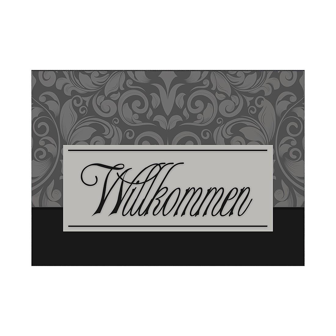 Fußmatte Willkommen – Grau/Schwarz, Pro Art günstig online kaufen