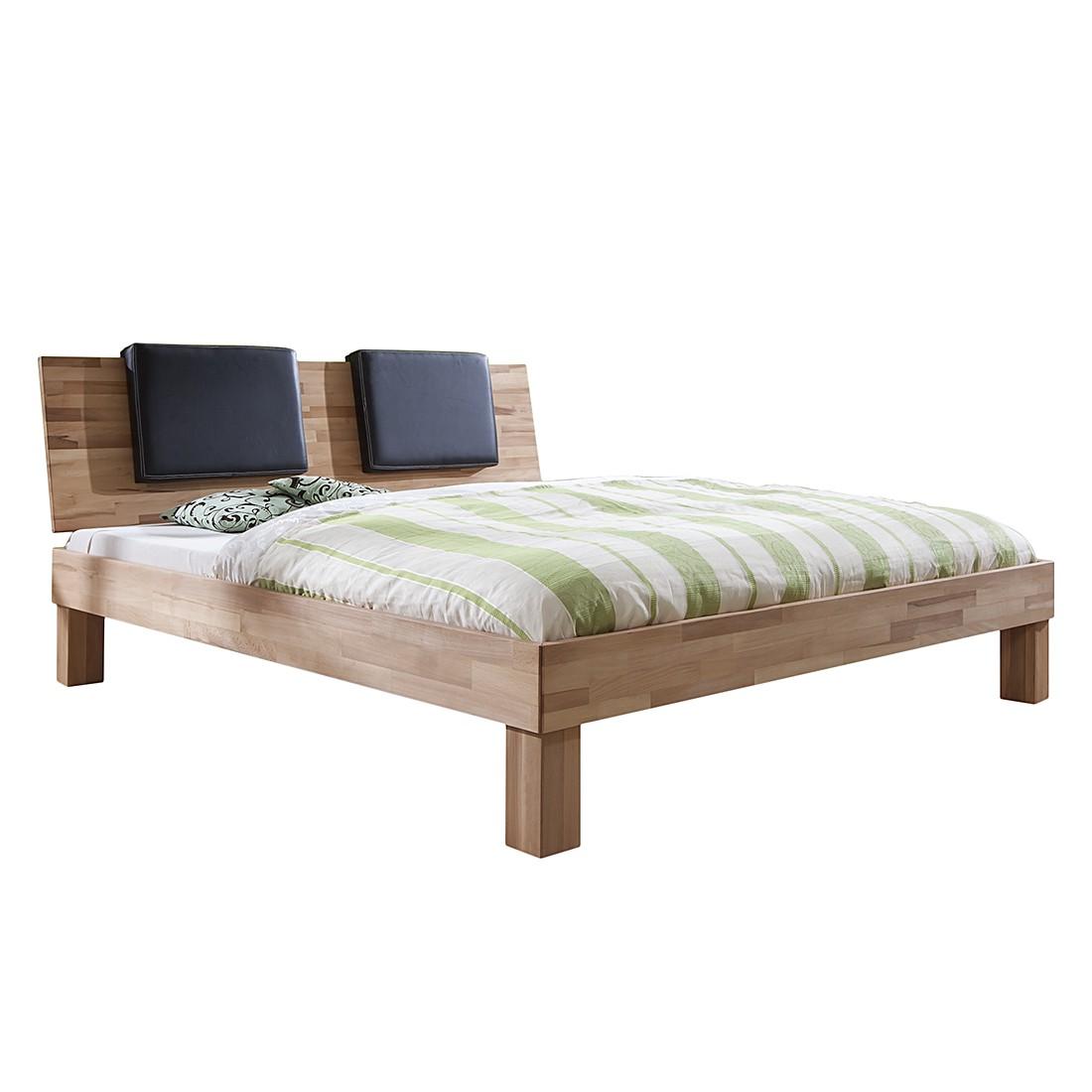 Massivholzbett Max (optional Bettkästen) – 90 x 200cm – 2 Bettkästen & Regal – Buche Natur geölt, Relita kaufen
