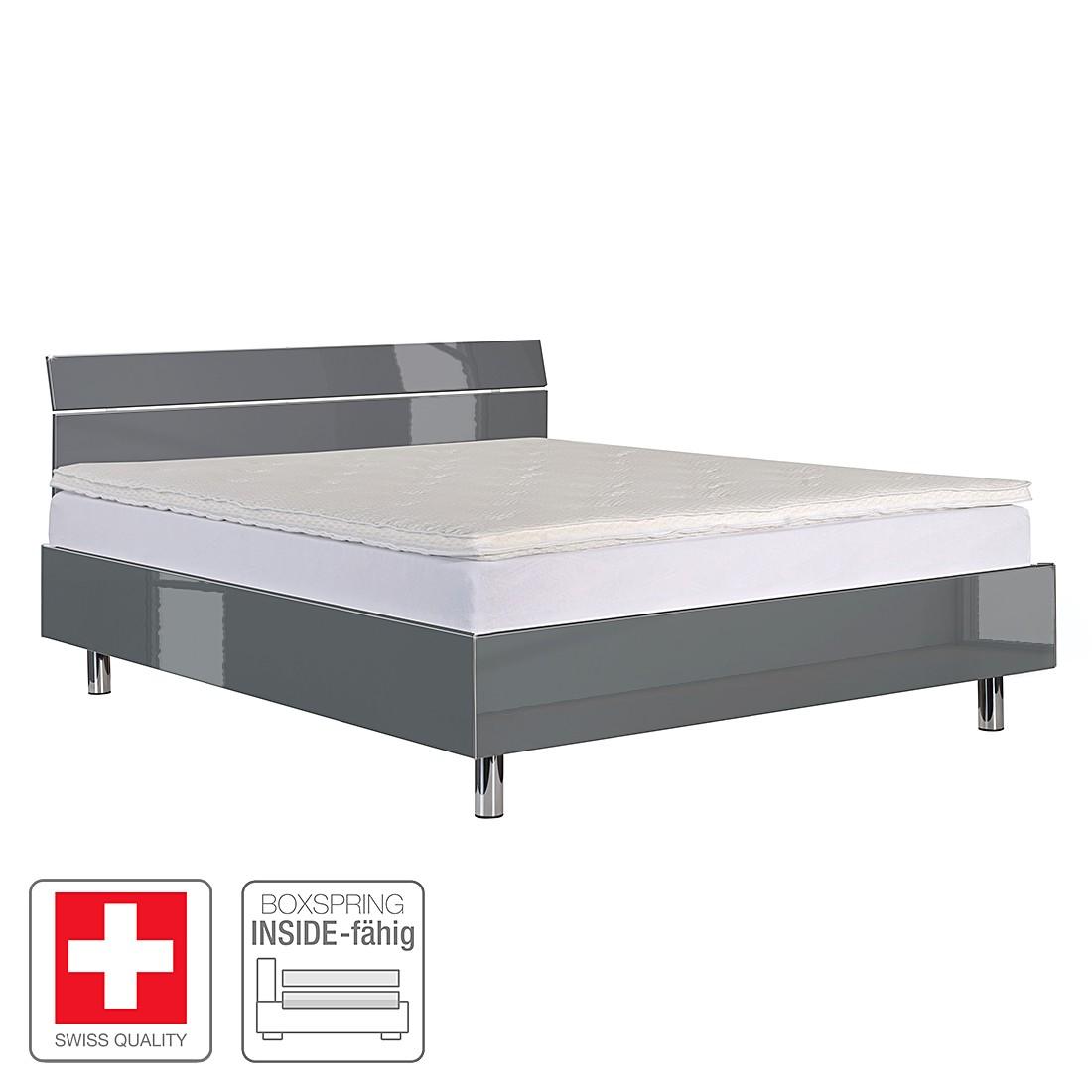 Futonbett Milano – Hochglanz Grau – 140 x 200cm, Neue Modular günstig online kaufen