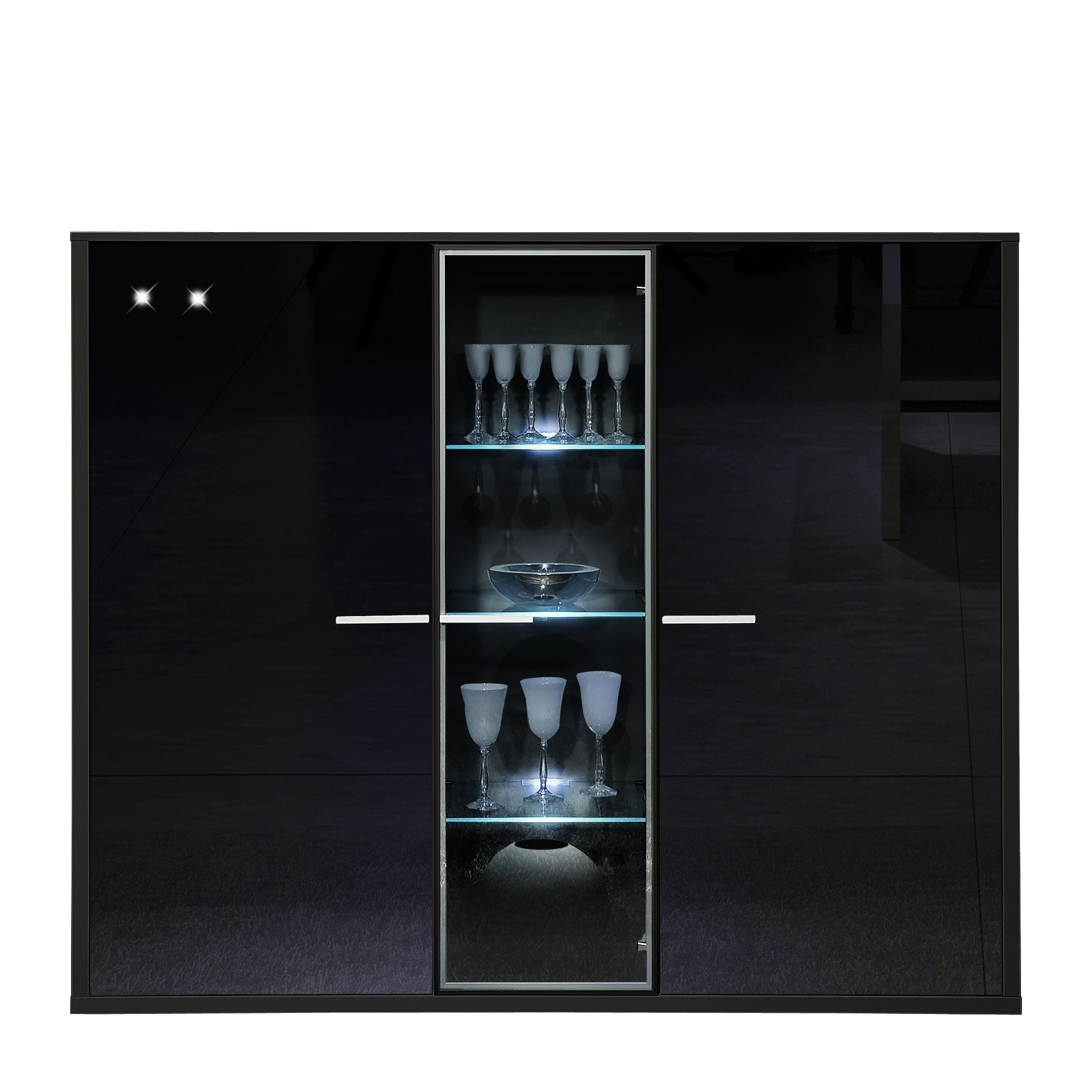 highboard game 3 t rig mit glas schwarz und parsolglas. Black Bedroom Furniture Sets. Home Design Ideas