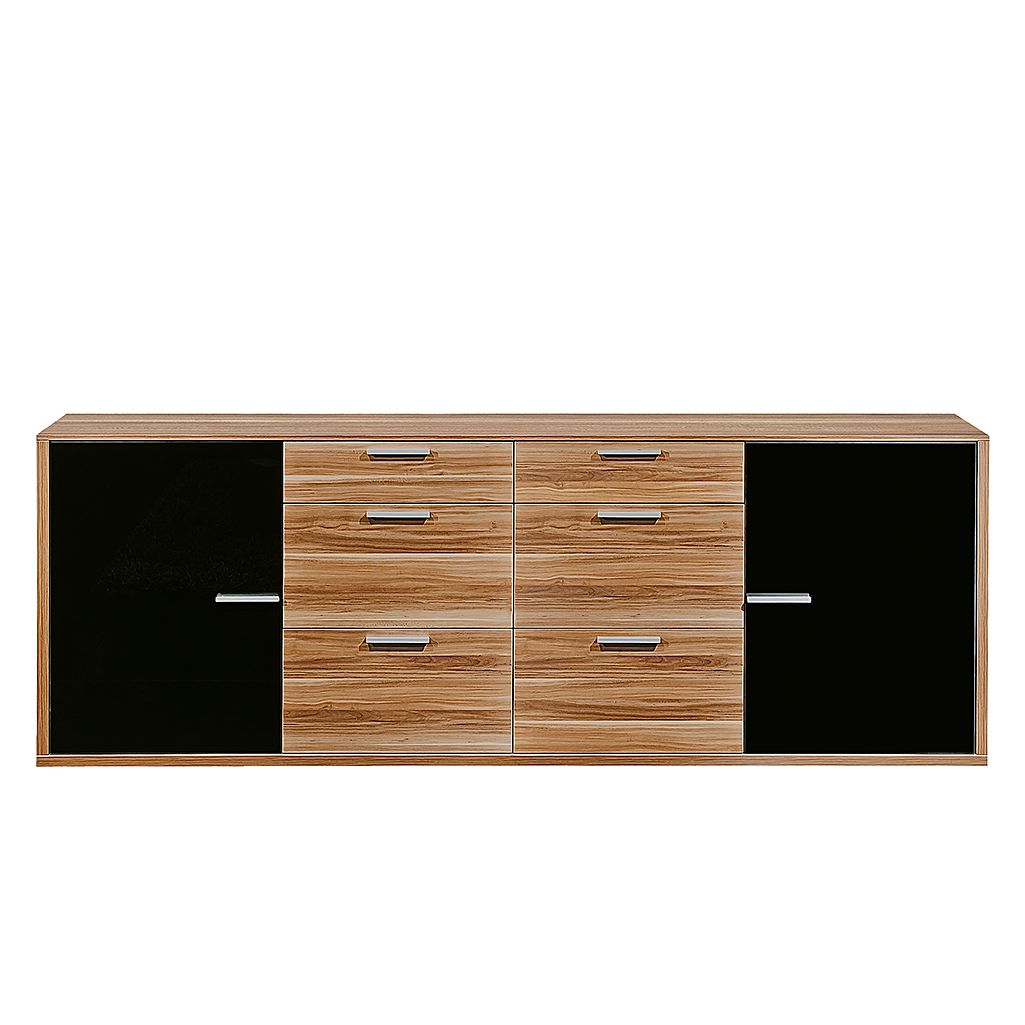 sideboard game 2 t rig mit 6 schubalden nussbaum glas schwarz. Black Bedroom Furniture Sets. Home Design Ideas