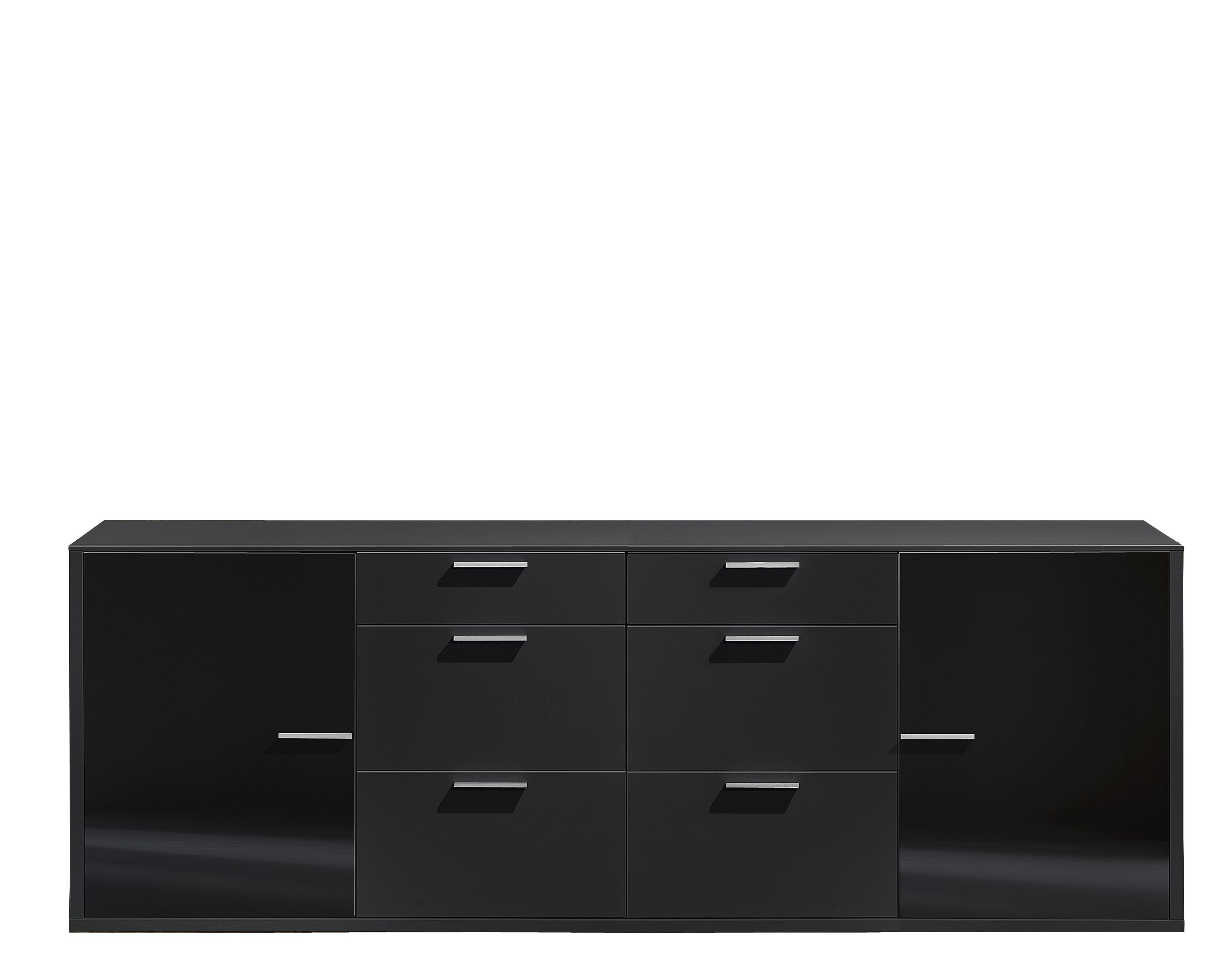 sideboard game 2 t rig mit 6 schubalden schwarz glas schwarz. Black Bedroom Furniture Sets. Home Design Ideas