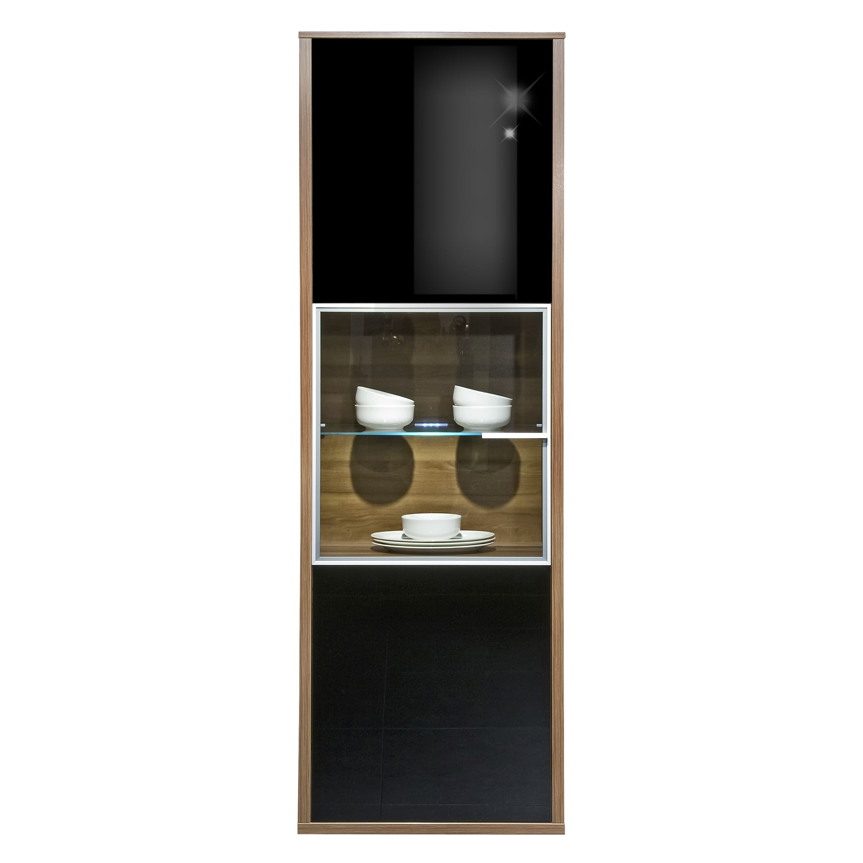 vitrine game nussbaum glas schwarz und parsolglas. Black Bedroom Furniture Sets. Home Design Ideas