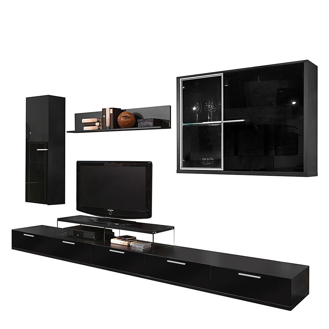 wohnwand game 6 teilig schwarz hochglanz. Black Bedroom Furniture Sets. Home Design Ideas