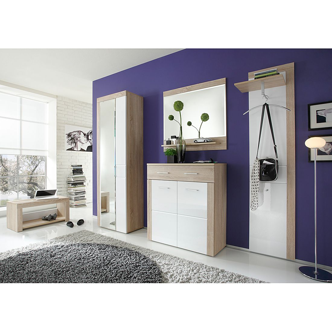 garderobe aalborg 5 teilig eiche dekor hochglanz wei. Black Bedroom Furniture Sets. Home Design Ideas
