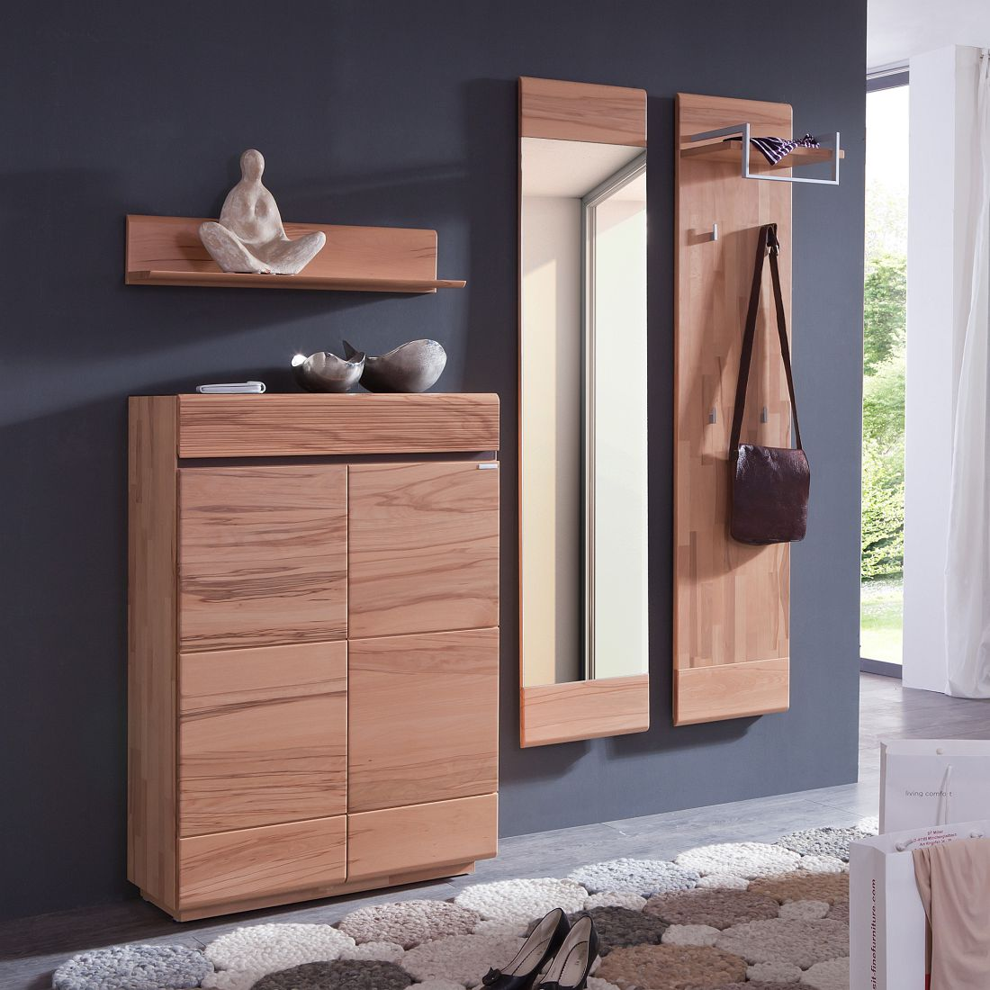 garderobe cosimo ii 4 teilig kernbuche massiv terrabraun jung s hne g nstig. Black Bedroom Furniture Sets. Home Design Ideas