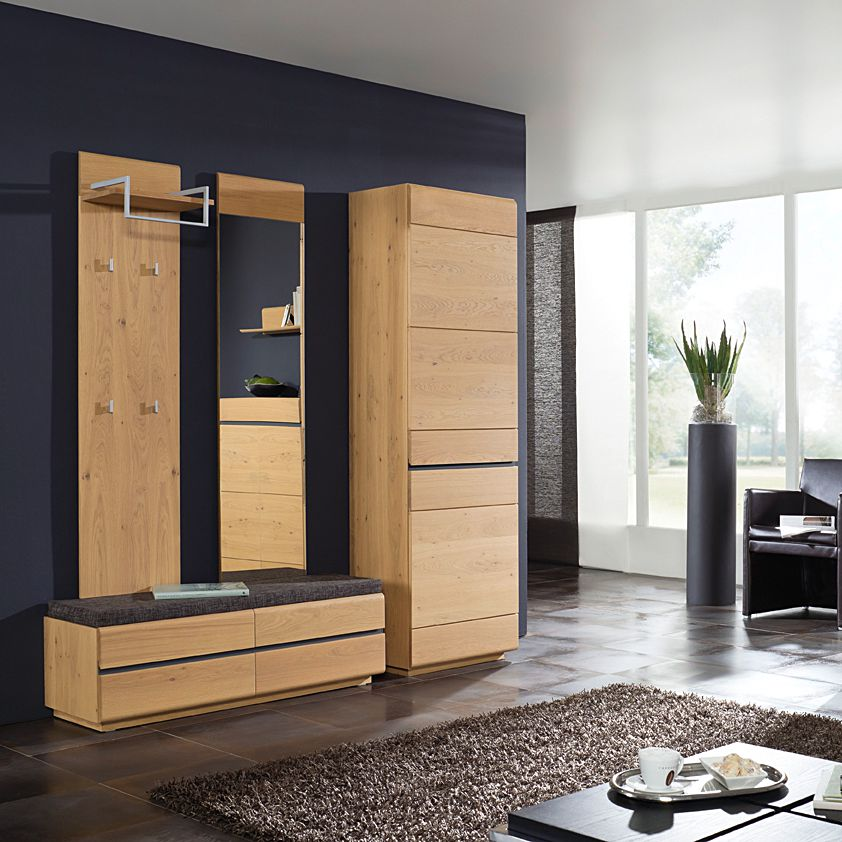garderobe cosimo ii 4 teilig wildeiche massiv anthrazitgrau. Black Bedroom Furniture Sets. Home Design Ideas