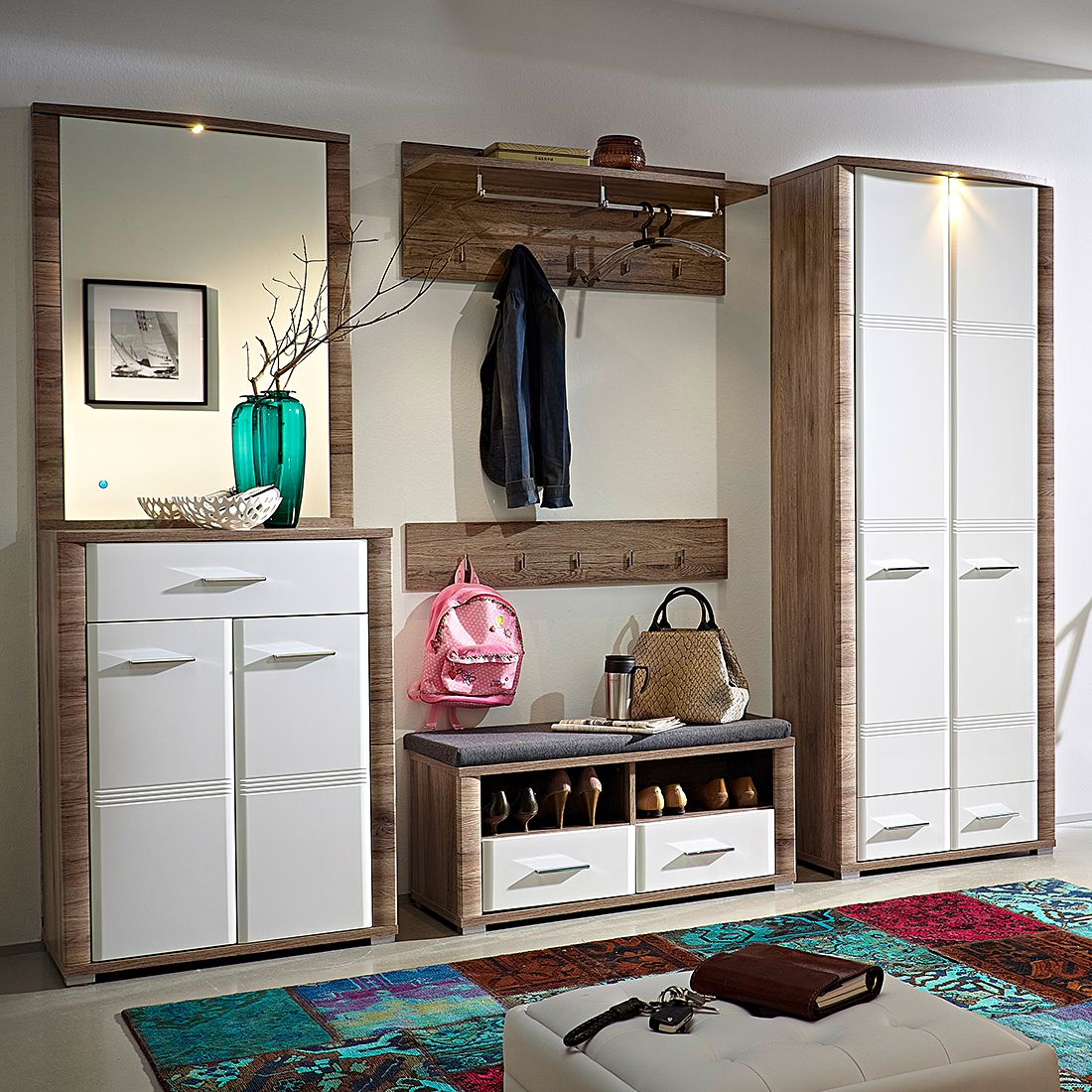 garderobe skanderborg i 6 teilig hochglanz wei. Black Bedroom Furniture Sets. Home Design Ideas