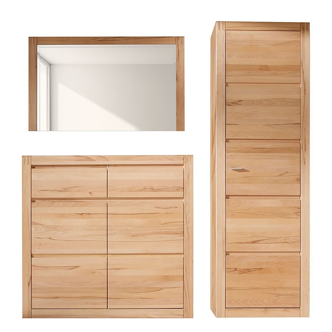 garderobe vigo 3 teilig kernbuche teilmassiv ge lt gewachst. Black Bedroom Furniture Sets. Home Design Ideas