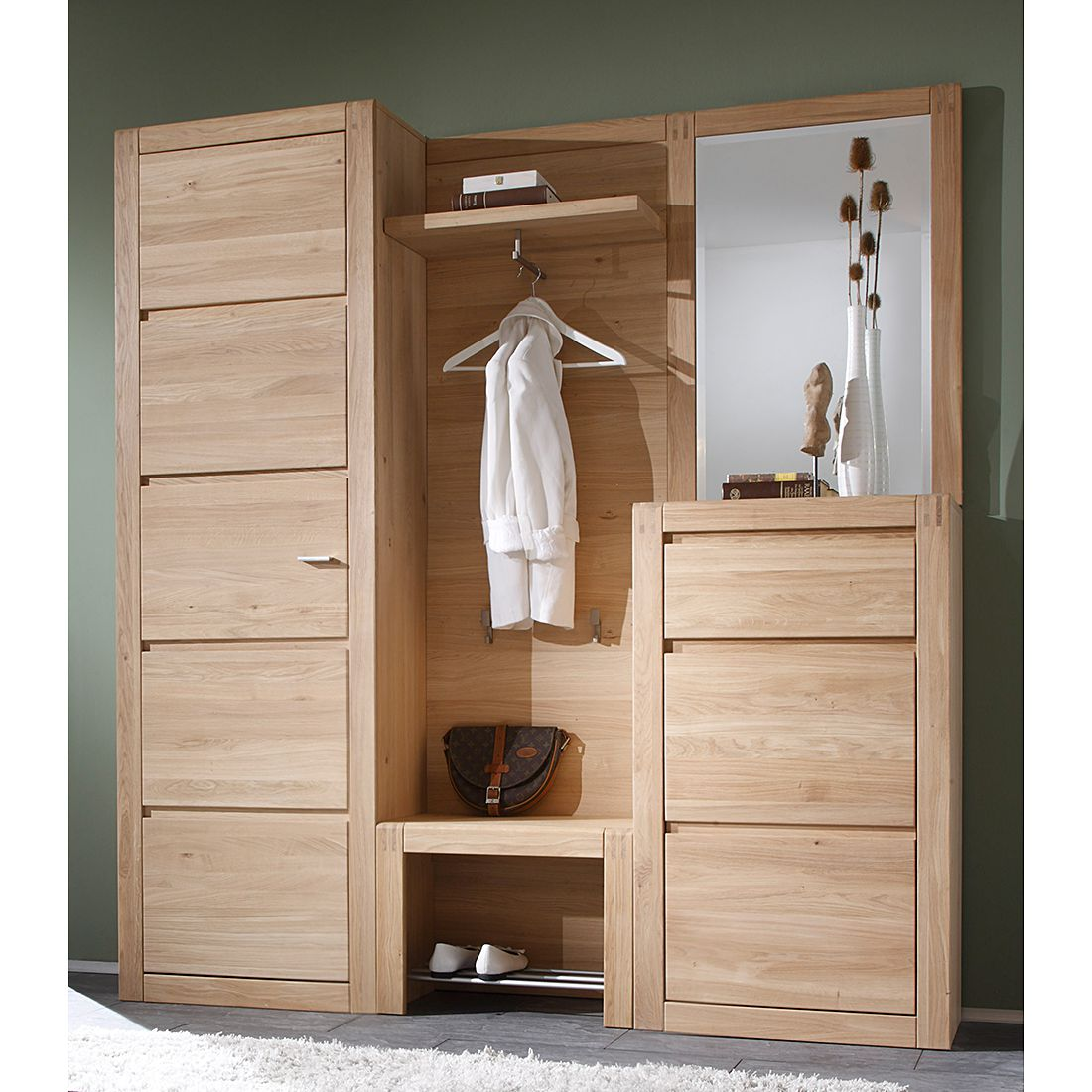 garderobe vigo 5 teilig eiche teilmassiv ge lt gewachst. Black Bedroom Furniture Sets. Home Design Ideas
