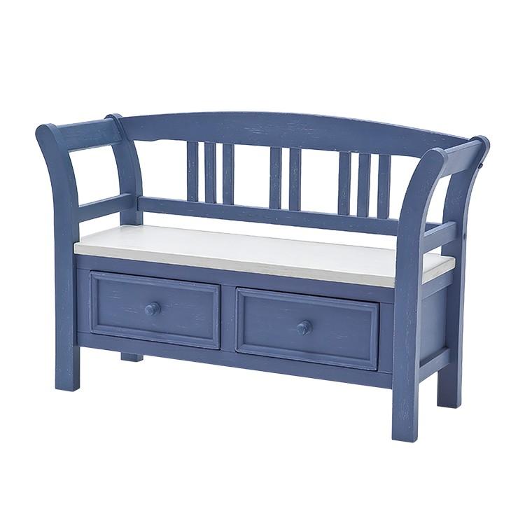 garderobenbank felo ii kiefer teilmassiv blau wei landhaus classic jetzt kaufen. Black Bedroom Furniture Sets. Home Design Ideas