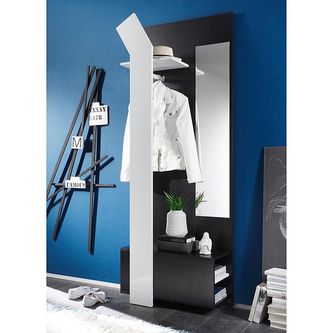 Garderobenkombination Filipe – Schwarz / Hochglanz Weiß, loftscape jetzt kaufen