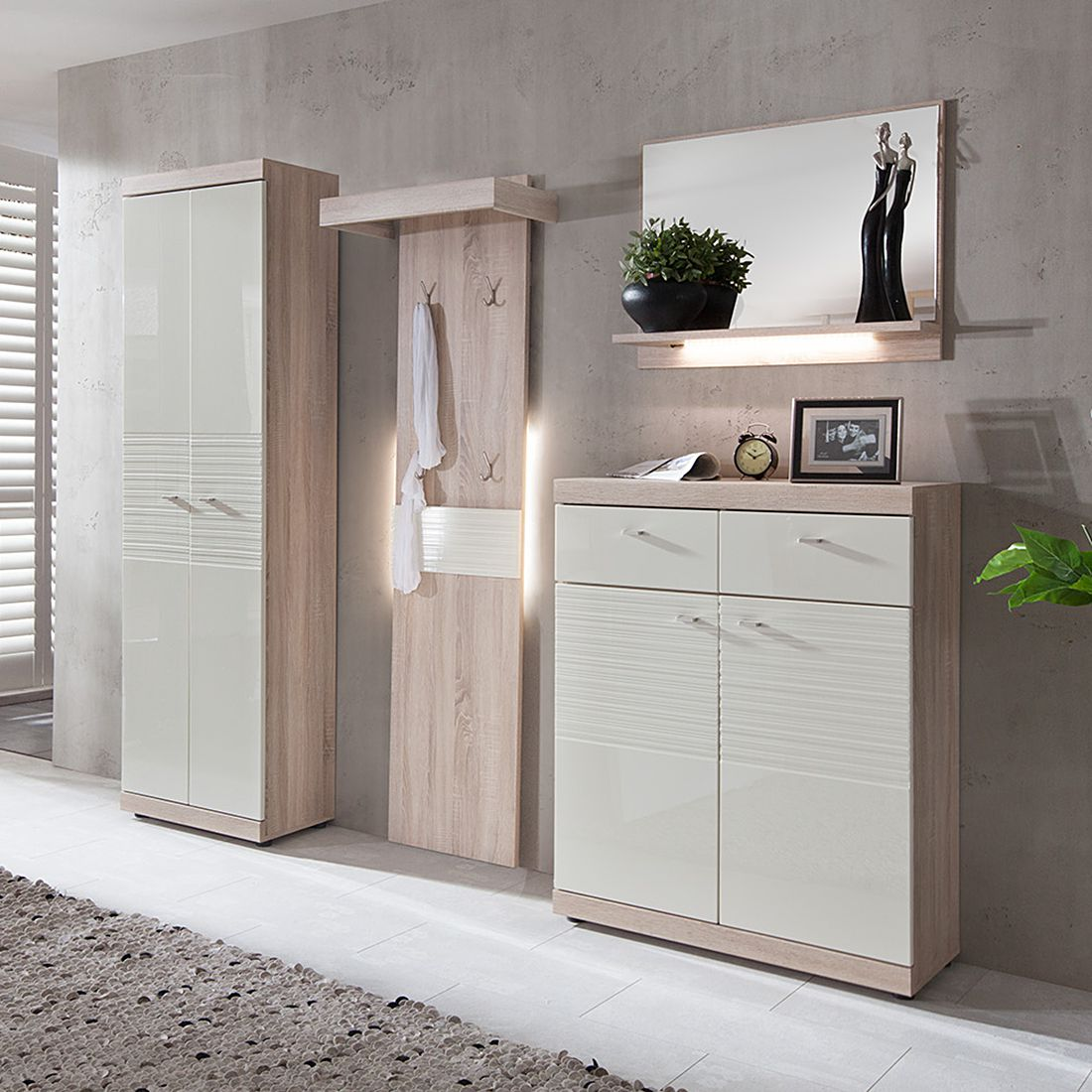 garderobe lorica 4 teilig eiche hell creme wei. Black Bedroom Furniture Sets. Home Design Ideas