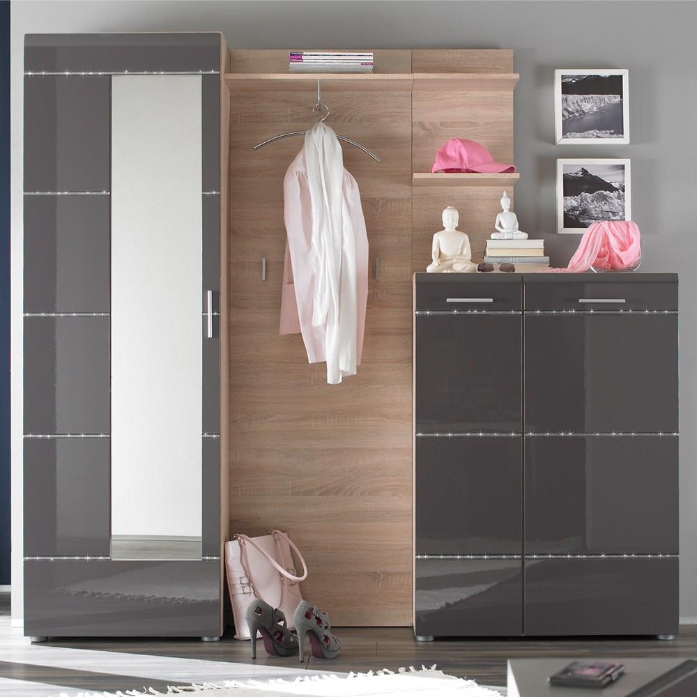 Garderobenmöbel Set Aldama (4-teilig) - Anthrazit Hochglanz/Eiche Sonoma Dekor - Dielenschrank