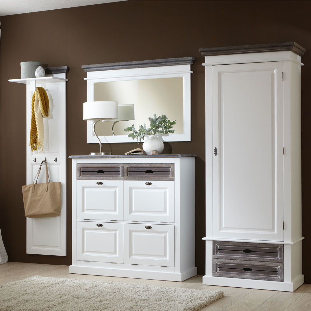 Garderobenmöbel Set Basilico (4-teilig) - Weiß/Graubraun - Dielenschrank