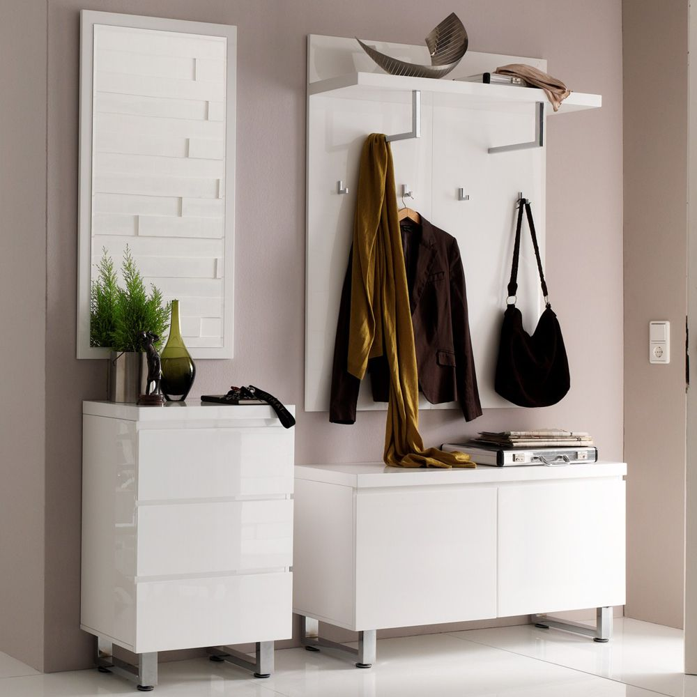 garderobenm bel set canaria 5 teilig mdf metall wei hochglanz verchromt. Black Bedroom Furniture Sets. Home Design Ideas