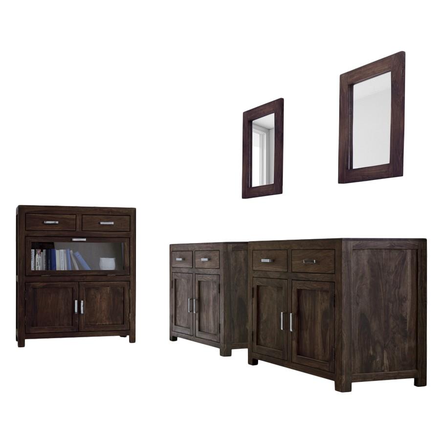 Garderobenmöbel Set Woodny (5-teilig) – Palisander Massiv – Dunkel gebeizt, Möbel Exclusive günstig online kaufen