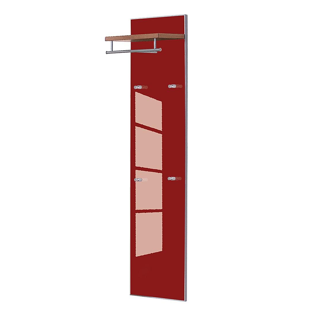 Garderobenpaneel Sarota – Nussbaum/Glas Rot, Voss günstig kaufen