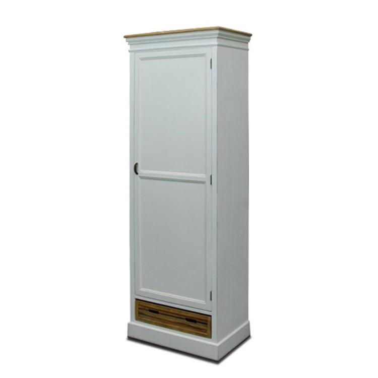 Garderobenschrank Burgund - Antik-Look - weiß lackiert