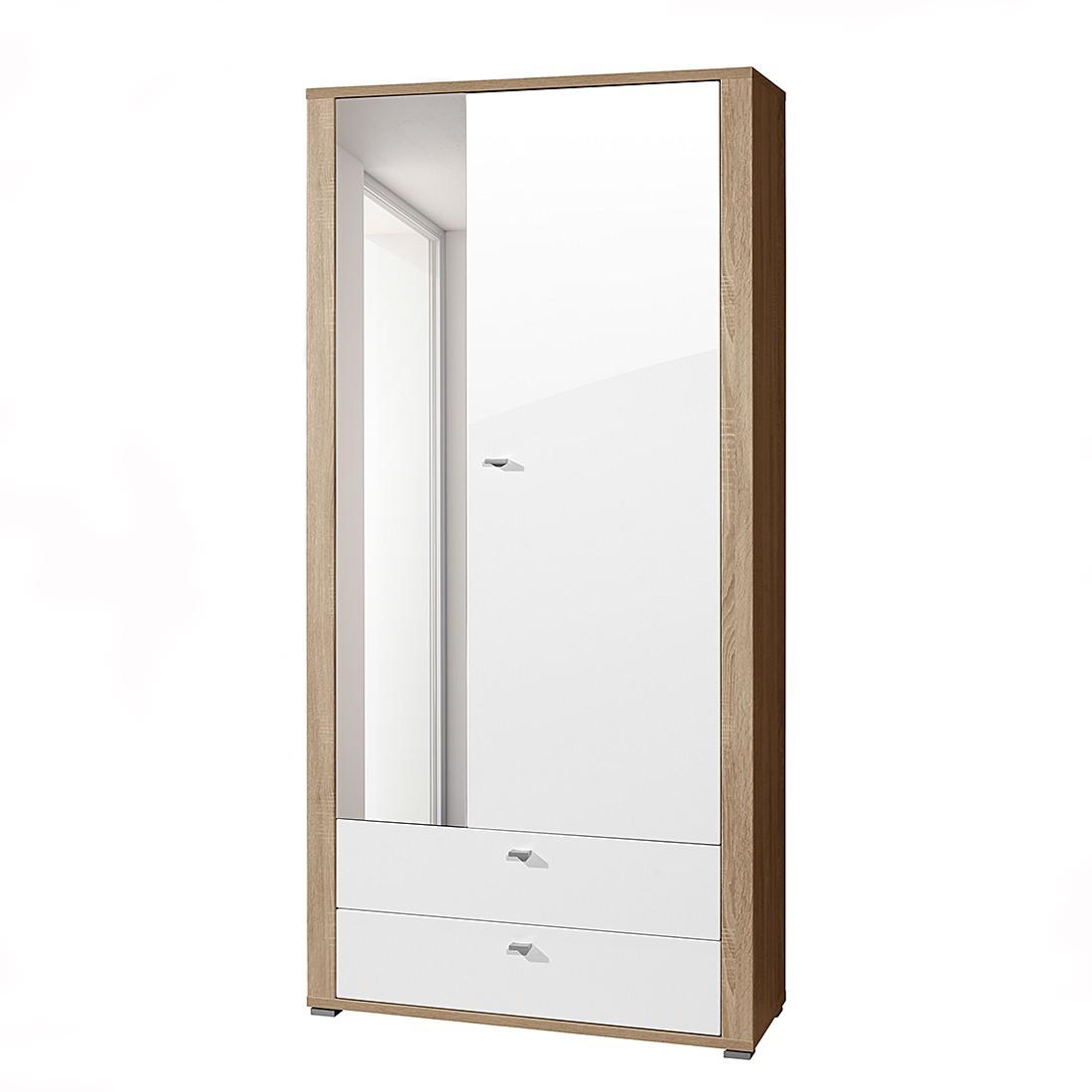 Garderobenschrank Santa Rosa - Weiß Hochglanz/Eiche Dekor
