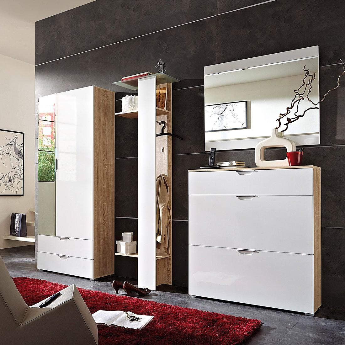 Garderobenset Neoo 4-teilig - Hochglanz Weiß/ Sonoma Eiche