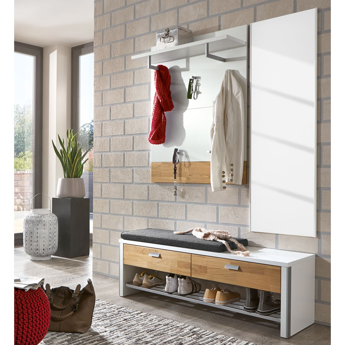 garderobenset bolton i 4 teilig wei eiche massiv voss. Black Bedroom Furniture Sets. Home Design Ideas