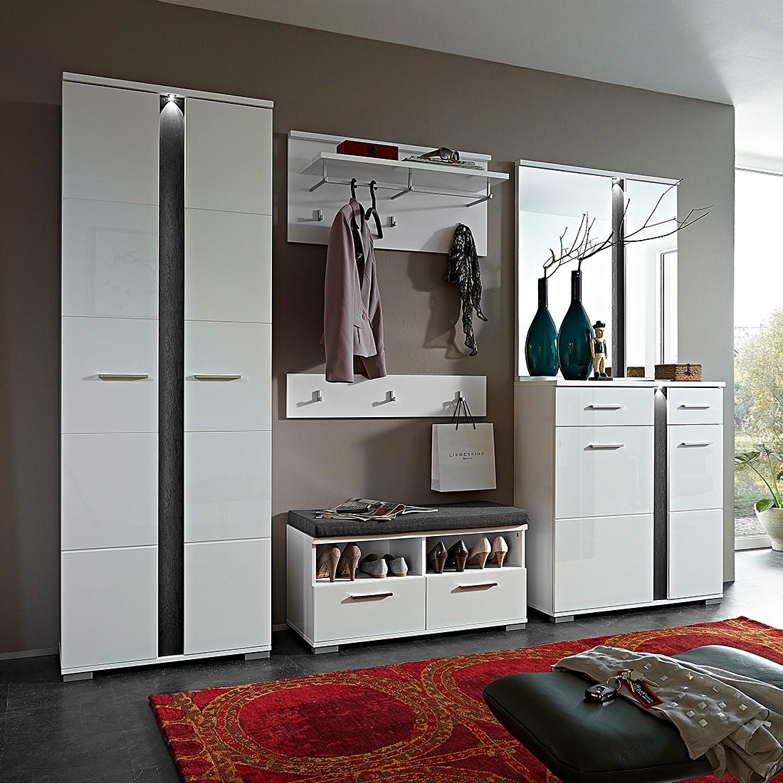 garderobenset campo 6 teilig hochglanz wei ebay. Black Bedroom Furniture Sets. Home Design Ideas