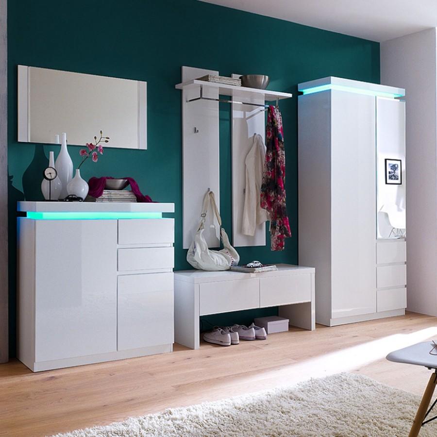 EEK A+, Garderobenset Emblaze (5-teilig) - Hochglanz Weiß - Inkl. Beleuchtung, loftscape