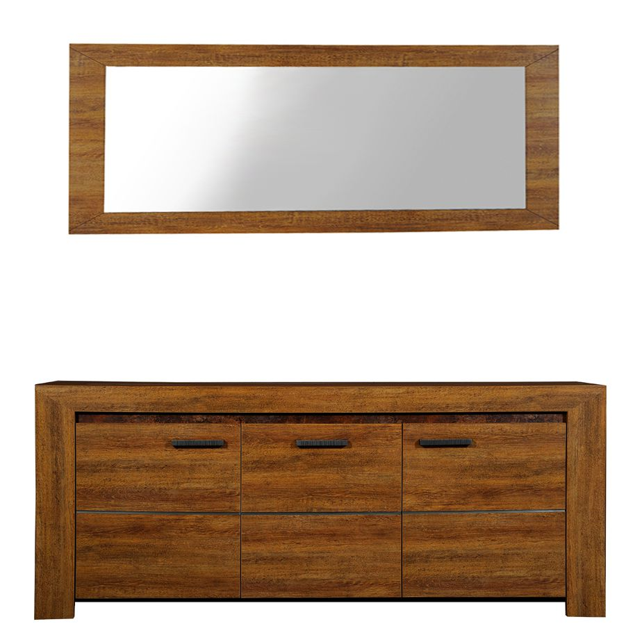 Garderobenset Gracioso (2-teilig) - Eiche Dekor - Sideboard & Spiegel