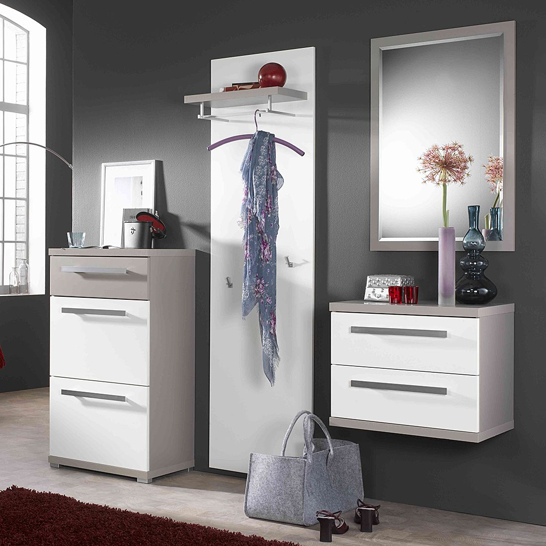 garderobenset buono ii 3 teilig wei hochglanz gr n. Black Bedroom Furniture Sets. Home Design Ideas