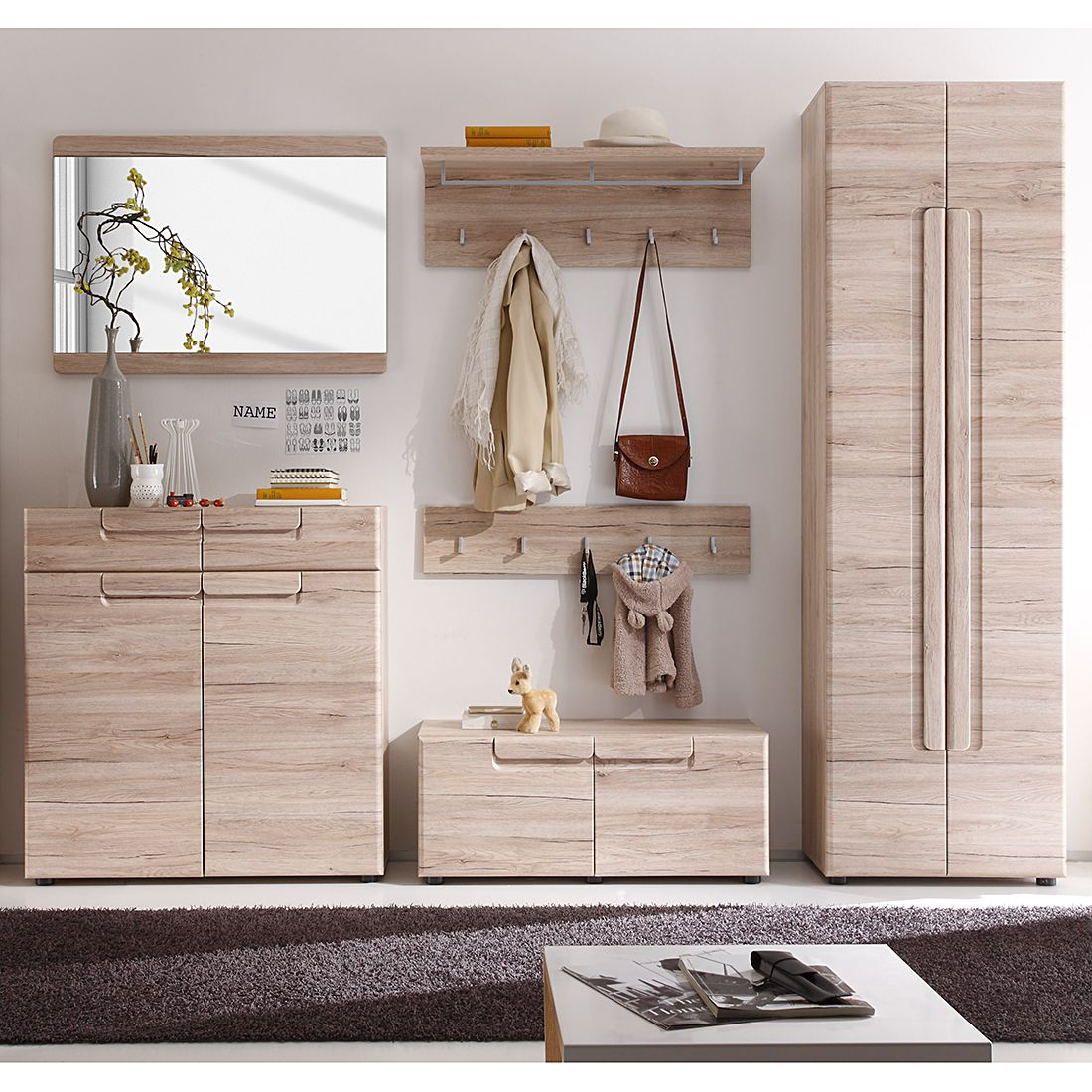 garderobenset giba 6 teilig eiche sanremo dekor modoform g nstig kaufen. Black Bedroom Furniture Sets. Home Design Ideas