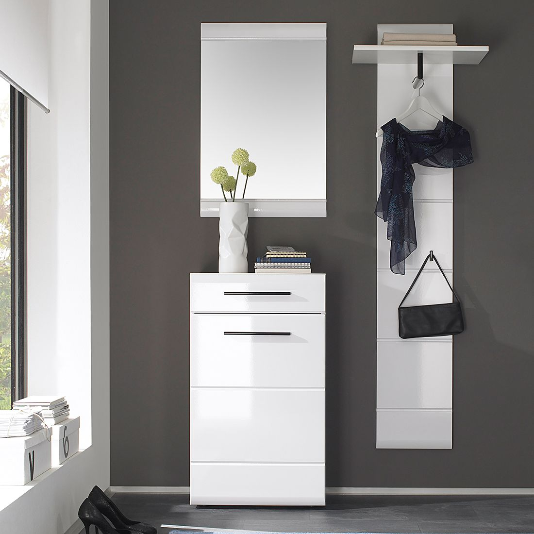 3 teilig garderobenset looma i in wei garderobe set flur. Black Bedroom Furniture Sets. Home Design Ideas