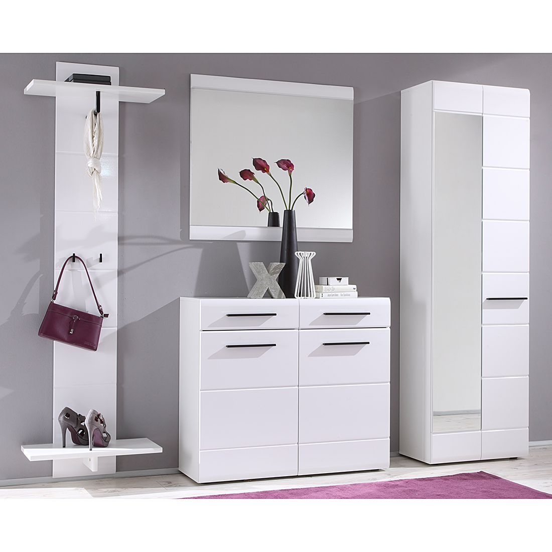 Garderobenset Looma II (4-teilig) – Hochglanz Weiß, Top Square bestellen