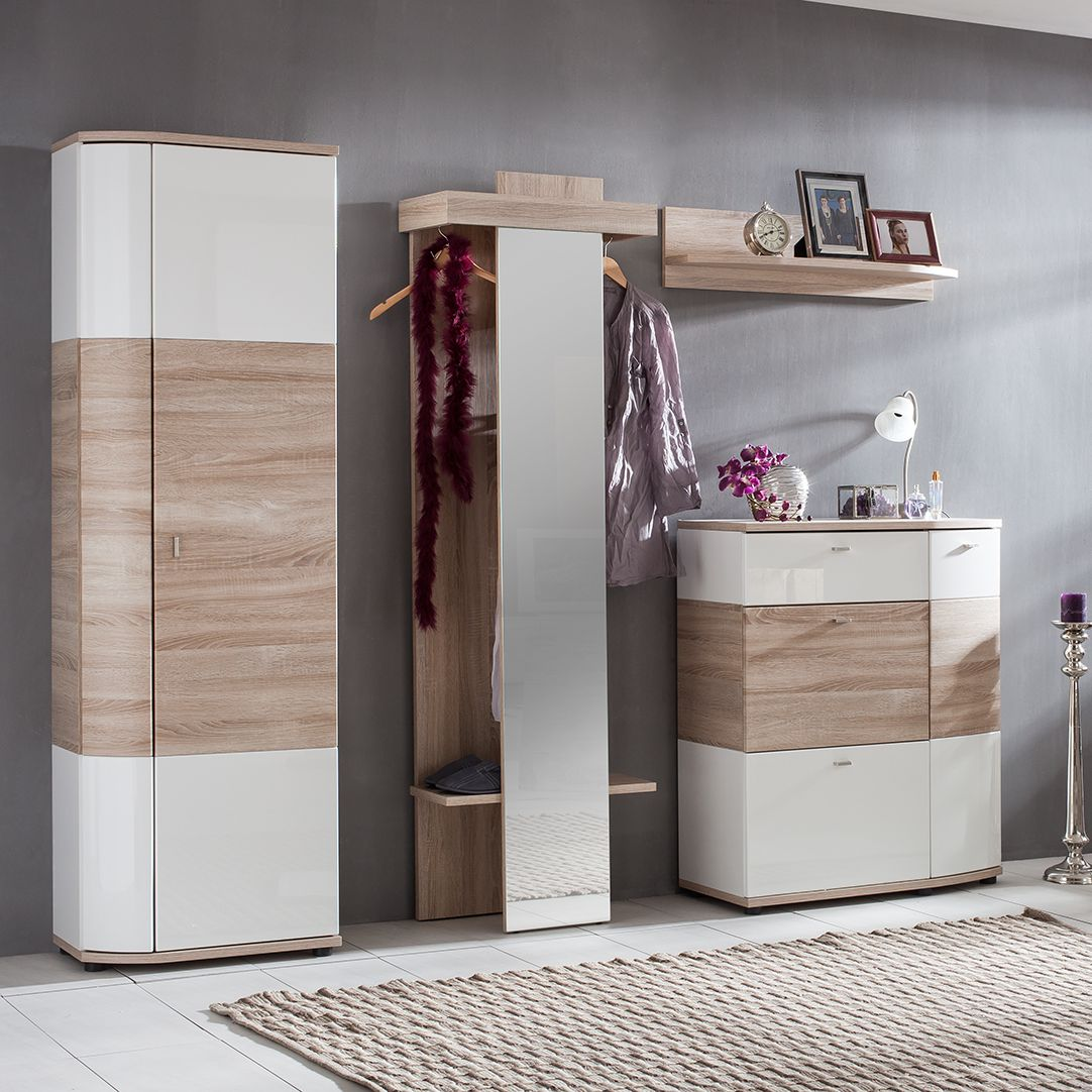 garderobenset montendra 4 teilig eiche sonoma dekor hochglanz wei modoform. Black Bedroom Furniture Sets. Home Design Ideas