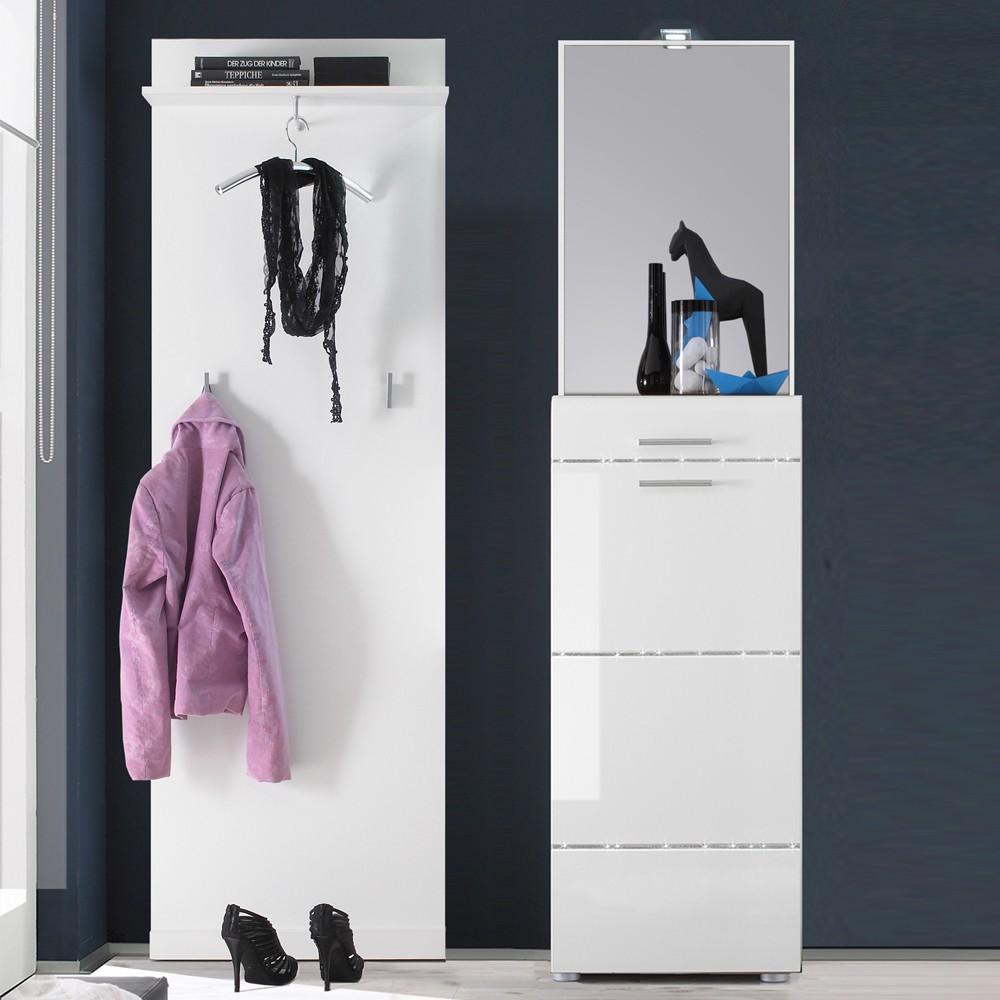 Garderobenset Posada (3-teilig) - Weiß Hochglanz - Garderobenpaneel