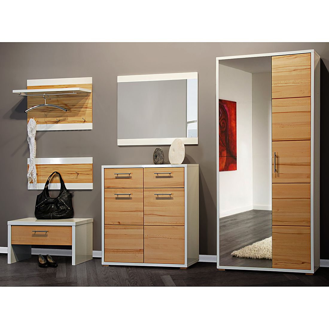 garderobenset riva 4 kernbuche teilmassiv hochglanz wei. Black Bedroom Furniture Sets. Home Design Ideas