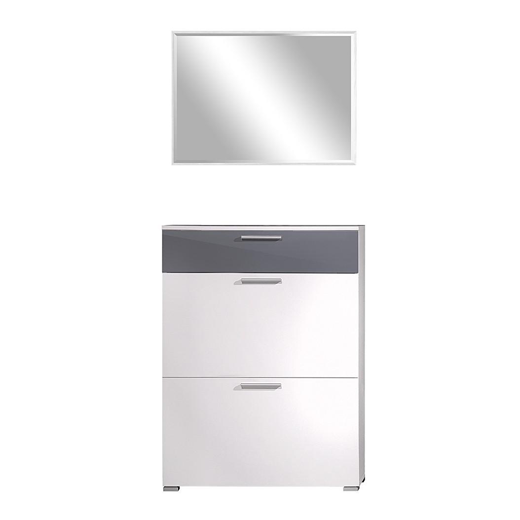 Garderobenset SiO 2-tlg - Hochglanz Weiß/Grau