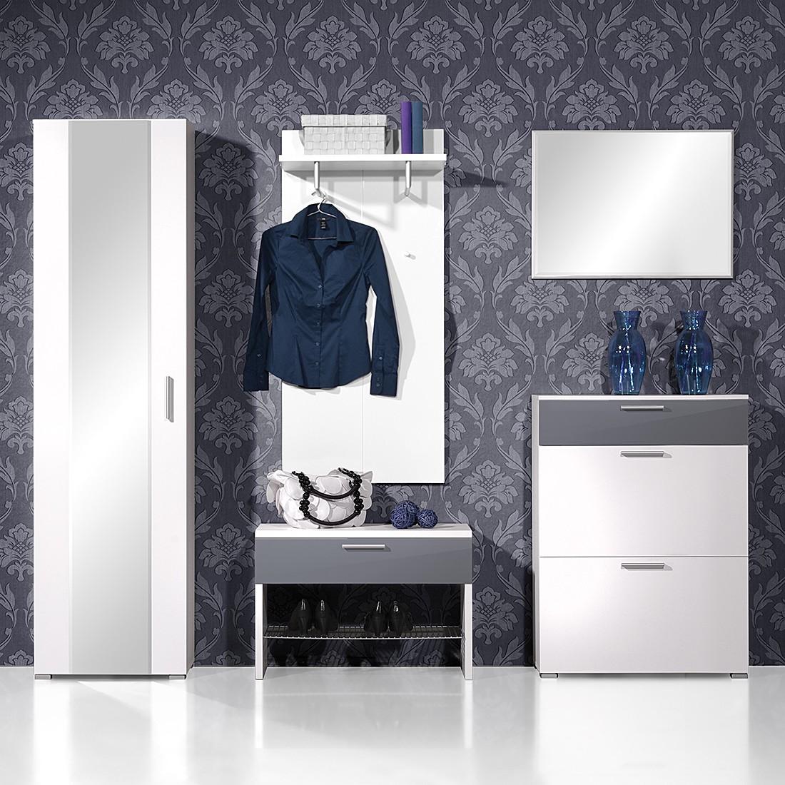 Garderobenset SiO 5-tlg - Hochglanz Weiß/Grau