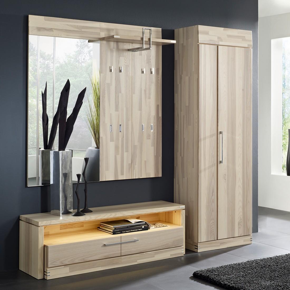 garderobenset terra i 4 teilig mit beleuchtung kernesche massiv. Black Bedroom Furniture Sets. Home Design Ideas
