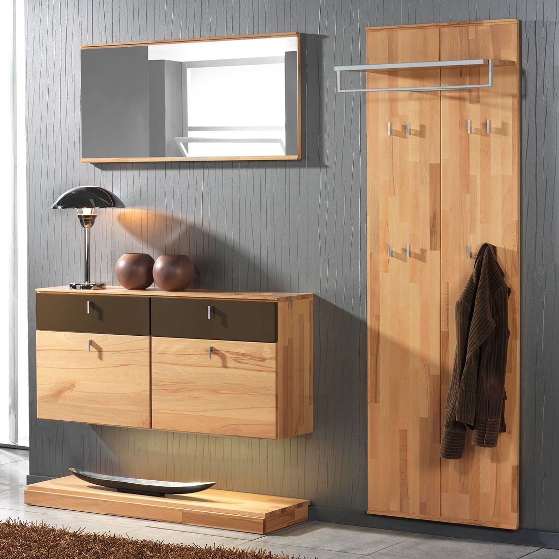 garderobenset vado i 4 teilig kernbuche massiv. Black Bedroom Furniture Sets. Home Design Ideas