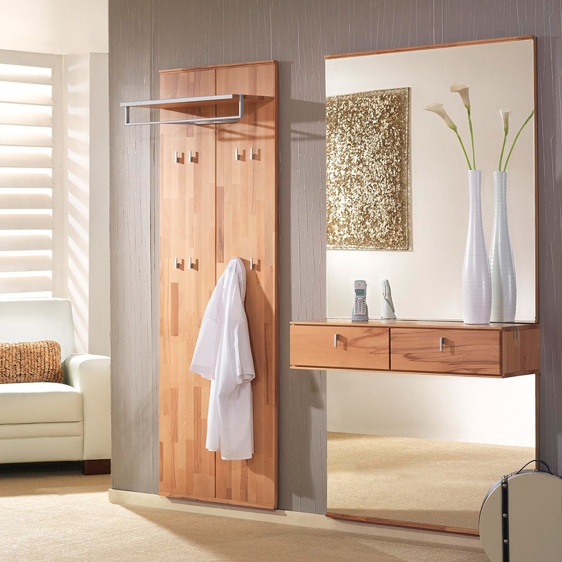 garderobenset vado iv 2 teilig kernbuche massiv. Black Bedroom Furniture Sets. Home Design Ideas