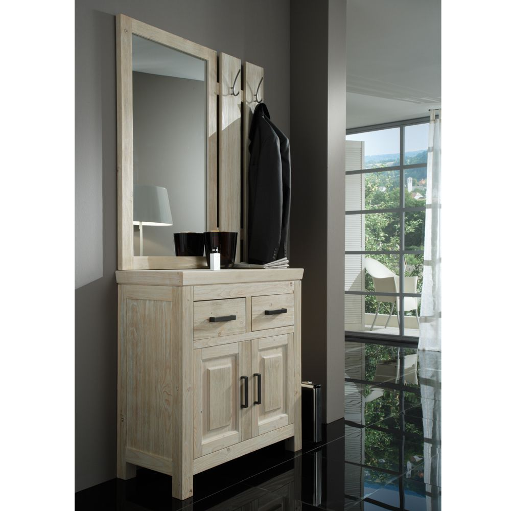 garderobenset white 3 teilig kiefer massivholz wei. Black Bedroom Furniture Sets. Home Design Ideas