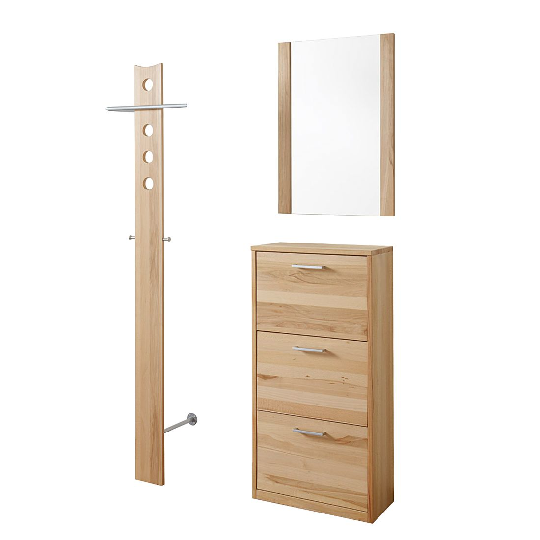 garderobenset woodfull iv 3 teilig kernbuche massiv ge lt. Black Bedroom Furniture Sets. Home Design Ideas