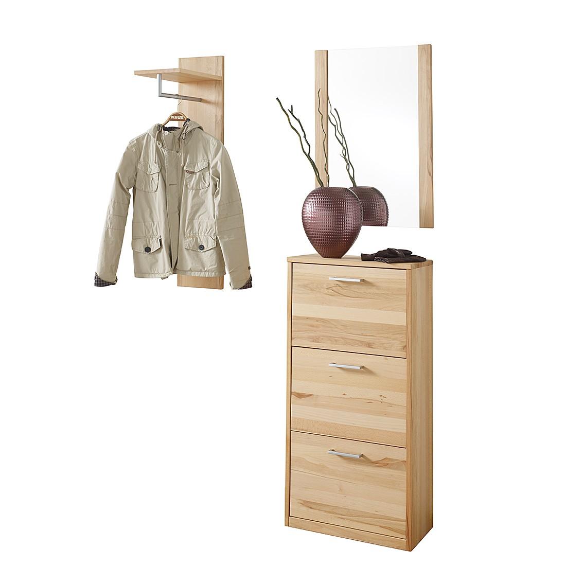 Garderobenset Woodfull V (3-teilig) - Kernbuche massiv - geölt