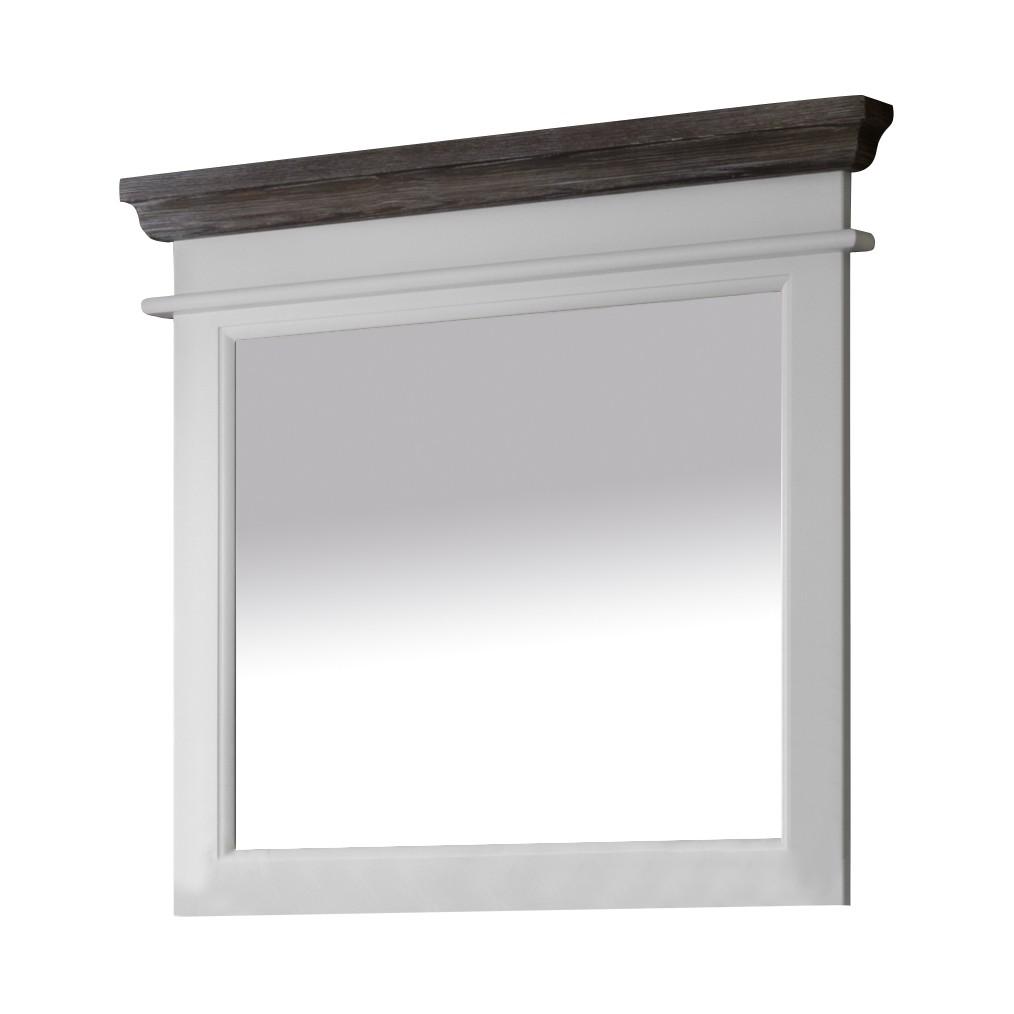 Garderobenspiegel Basilico - Weiß/Graubraun - Fichte Teilmassiv